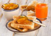 Toast bread with jam — Stock Photo