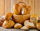 Fresh bread in a basket — Stock Photo