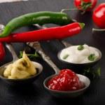 Mustard, ketchup and mayonnaise — Stock Photo #63375921