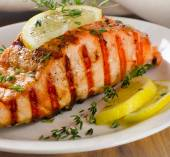 Grilled Salmon with lemon and  thyme — Stock Photo
