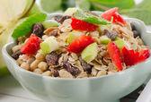 Muesli and fresh fruits — Stock Photo