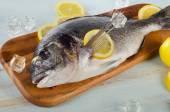 Raw dorado with lemon — Stock Photo