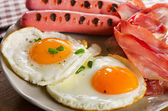 English Breakfast with  fried eggs — Stock Photo