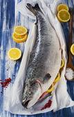 Atlantic Salmon  with lemon — Stock Photo