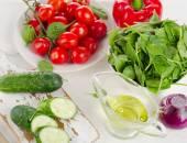 Ingredients for Fresh vegetable salad  — Stock Photo
