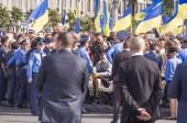 Members of antiterrorist operation watching parade — Stock Photo