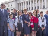 Family of Petro Poroshenko and Vitali Klitschko — Stock Photo