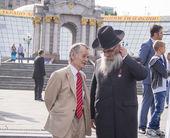 Mustafa Cemil talks with Chief Rabbi — Stock Photo
