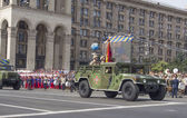 Military vehicles in the Independence Day parade — Stock Photo