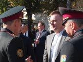 Valentyn Nalyvaychenko in honor of Flag Day of Ukraine — Stock Photo