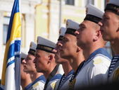 Official flag-raising ceremony in honor of Flag Day of Ukraine — Stock Photo