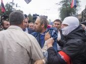 Protesters near Ministry of Defense of Ukraine — Stock Photo