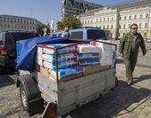 Humanitarian aid for soldiers anti-terrorist operation — Stock Photo