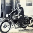 German soldiers posing on a motorcycle — Stock Photo #54195683