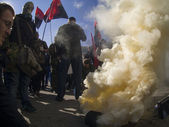"""Right sector"" lit smoke bomb at CEC — Stock Photo"