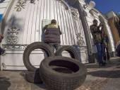 Avtomaydan came to Petro Poroshenko — Stock Photo