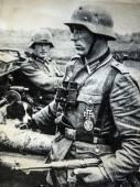 German soldiers wearing helmets — Stock Photo