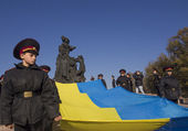 Cadets and schoolchildren at Babi Yar — Foto Stock
