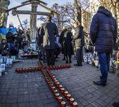 Yulia Tymoshenko lays flowers heroes — Stock Photo