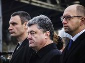 Witalij Kliczko, Petro Poroszenko i Arsenij Jaceniuk — Zdjęcie stockowe