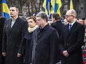 Petro Poroshenko, Vitaly Klitschko and Arseniy Yatsenyuk — Stock Photo