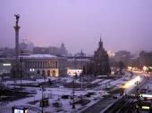 First snow in Kiev, Ukraine — Stock Photo