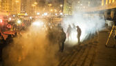 Clashes football fans with police — Stock Photo