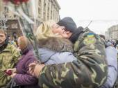 Kiev residents welcoming  battalion Kyiv 12 — Stock Photo