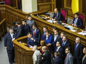 Ukrainian radicals blocked  Verkhovna Rada — Stock Photo