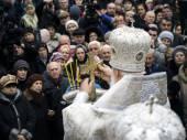 Patriarch Filaret holds divine service — Stock Photo
