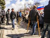 Pro-Russian protest in Lugansk — Stock Photo