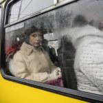 Woman in bus window — Stock Photo #63682975