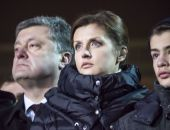 President of Petro Poroshenko and his wife — Stock Photo