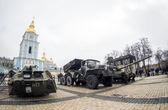 Padded Russian military equipment — Stock Photo