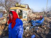 Destroyed village in Donetsk region — 图库照片