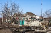 Zniszczone domy w Donieckaja obłast — Zdjęcie stockowe
