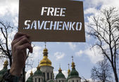 Banner with the inscription Free Savchenko — Stock Photo