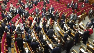 Mass fight in the Verkhovna Rada of Ukraine — Stock Video