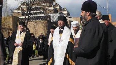 Niedziela Palmowa procesji religijnej na Ukrainie — Wideo stockowe