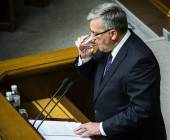 President of Poland gave a speech — Stock Photo