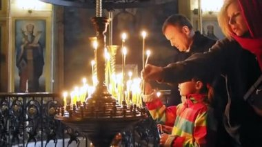 Believers Pray In St Michael's Cathedral — Stock Video