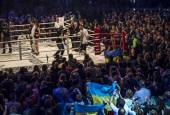 Boxer Alexander Usyk comes to fight — 图库照片