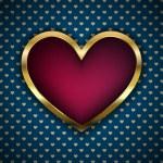 Vector red heart in golden fram — Stock Vector #64071725