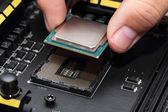 Installing central processor unit into motherboard — Stock Photo