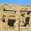 Ancient Egyptian Hathor sculptures in temple of Dendera — Stock Photo #65712973