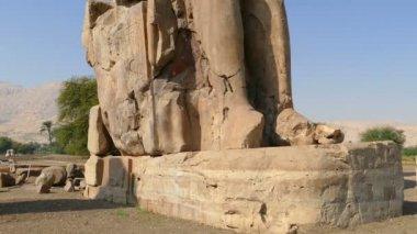Colossi of memnon gigantic statues — Stock Video