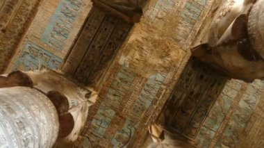Dendera Temple Ancient painting — Stock Video