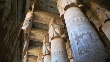 Dendera Temple carved Interior — Stock Video