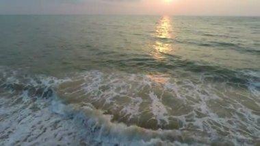Flying over sand beach — Stock Video