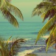 Sea landscape with palms - vintage retro style — Stock Photo #72026501